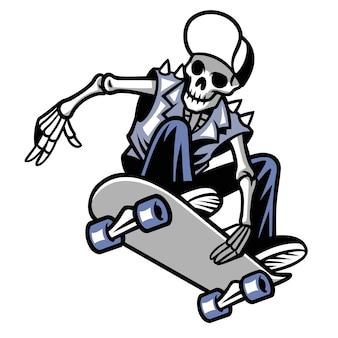 Skull punk ride un skateboard isolé sur blanc
