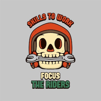 Skull rider illustration avec casque et clé design vintage