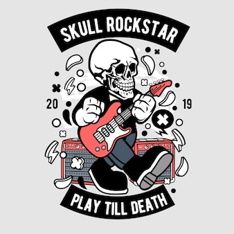 Skull rockstar cartoon