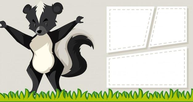 Skunk sur les cadres de notes vierges