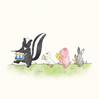 Skunk marchant à son propre tambour