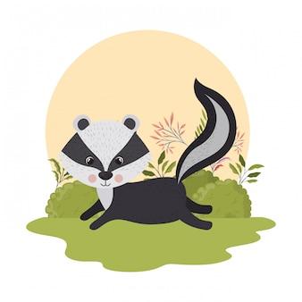 Skunk mignon avec paysage