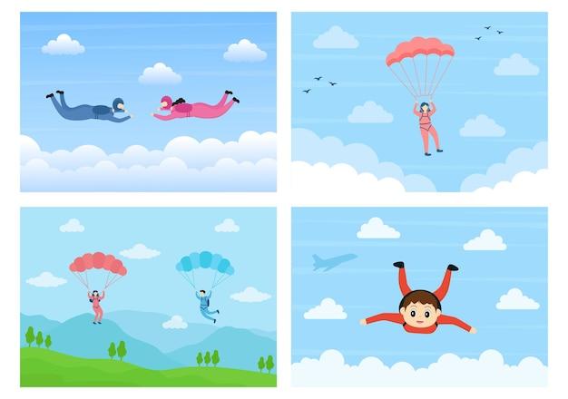 Skydive sport de loisirs de plein air utilisant le parachute et le saut en hauteur dans le vecteur sky air