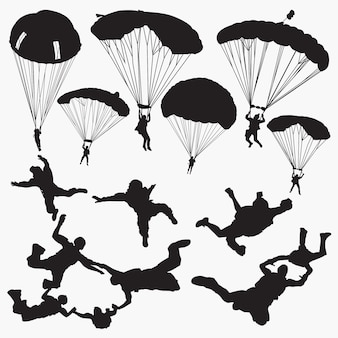Skydiving silhouettes