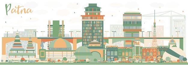 Skyline abstraite de patna avec des bâtiments de couleur. illustration vectorielle. concept de voyage d'affaires et de tourisme à l'architecture moderne. image pour la bannière de présentation et le site web.
