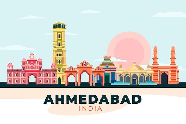 Skyline d'ahmedabad colorée