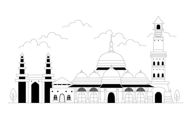 Skyline d'ahmedabad dans un style linéaire