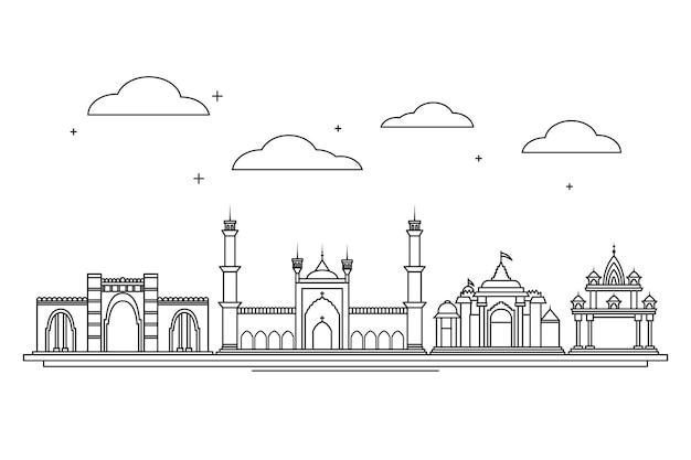 Skyline d'ahmedabad linéaire