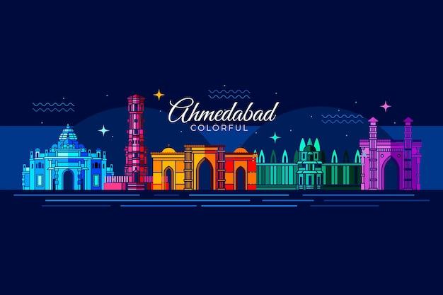 Skyline d'ahmedabad à la lumière de la nuit