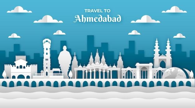 Skyline d'ahmedabad en style papier
