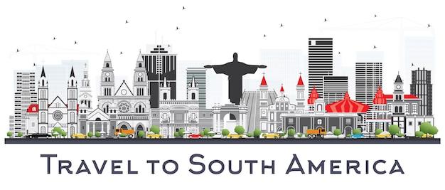 Skyline de l'amérique du sud avec des monuments célèbres isolé sur fond blanc. illustration vectorielle. concept de voyage d'affaires et de tourisme.