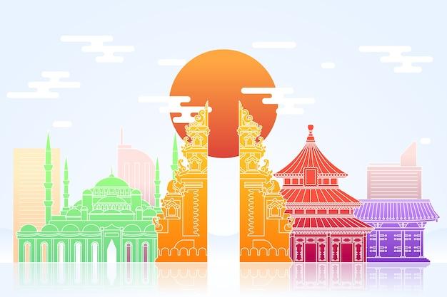 Skyline de beaux monuments colorés