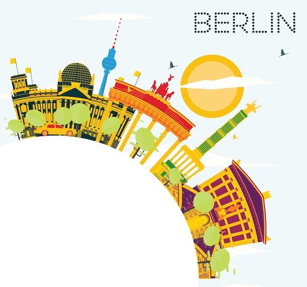 Skyline de berlin avec bâtiments de couleur, ciel bleu et espace de copie. illustration vectorielle. concept de voyage d'affaires et de tourisme avec architecture historique. image pour la bannière de présentation et le site web.
