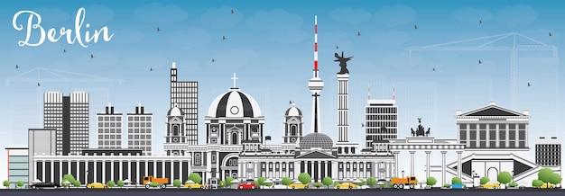 Skyline de berlin avec bâtiments gris et ciel bleu. illustration vectorielle. concept de voyage d'affaires et de tourisme avec architecture historique. image pour la bannière de présentation et le site web.