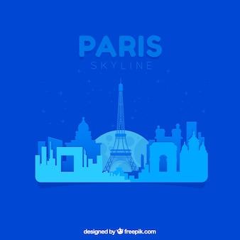 Skyline bleu abstrait de paris