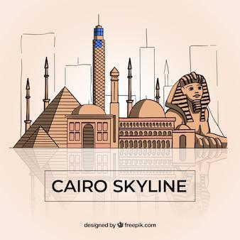 Skyline de cairo dessiné main coloré