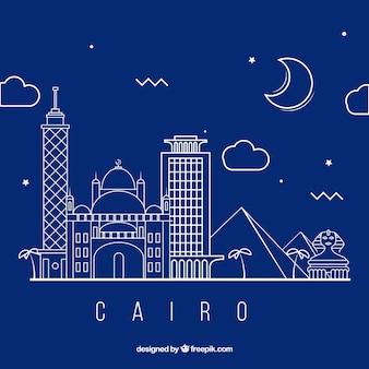 Skyline cairo moderne avec style linéaire