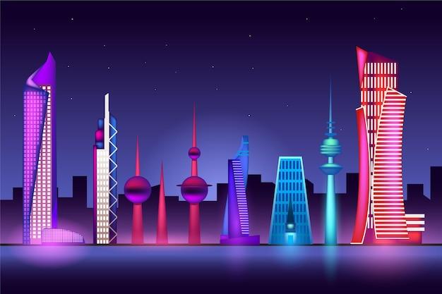 Skyline colorée du koweït
