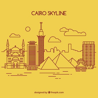 Skyline dessiné de la main du caire, egypte