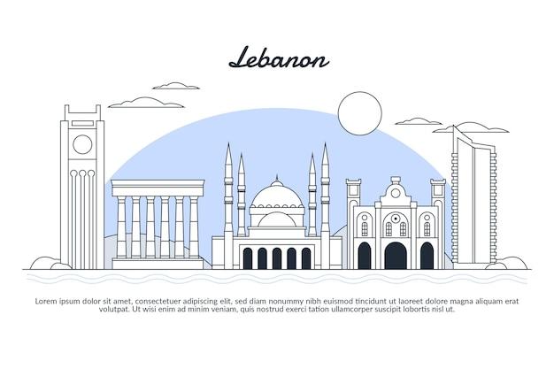 Skyline du liban design plat linéaire