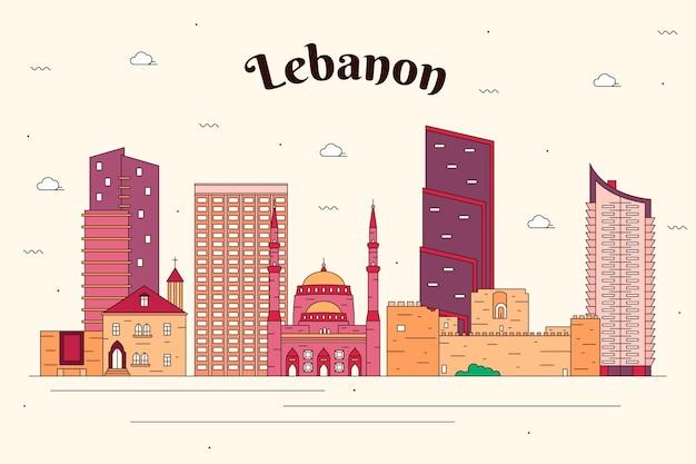 Skyline du liban plat linéaire