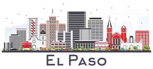 Skyline d'el paso au texas avec bâtiments gris isolés