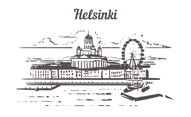 Skyline d'helsinki dessiné à la main