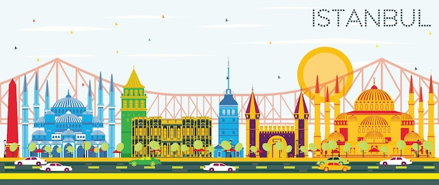 Skyline d'istanbul avec repères de couleur et ciel bleu. illustration vectorielle. concept de voyage d'affaires et de tourisme avec la ville d'istanbul. image pour la bannière de présentation et le site web.