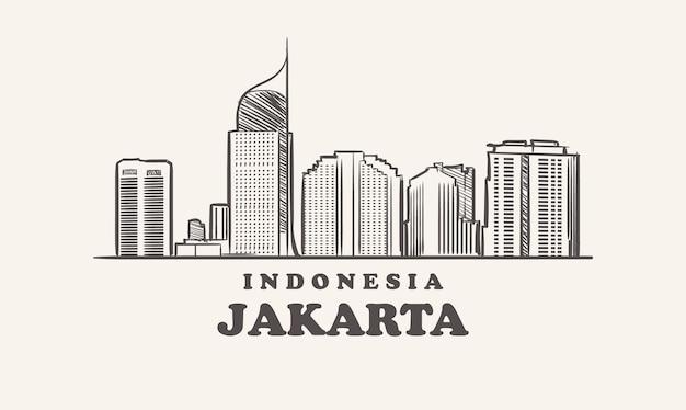 Skyline de jakarta, indonésie croquis grande ville