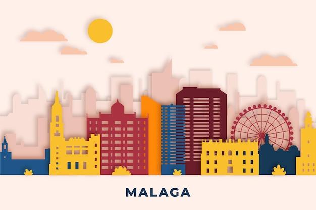 Skyline de malaga de style papier