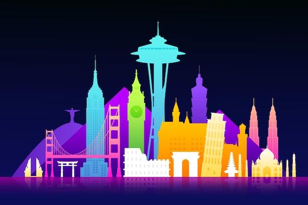 Skyline de monuments colorés dans la nuit