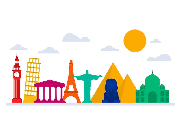 Skyline de monuments colorés avec les pyramides