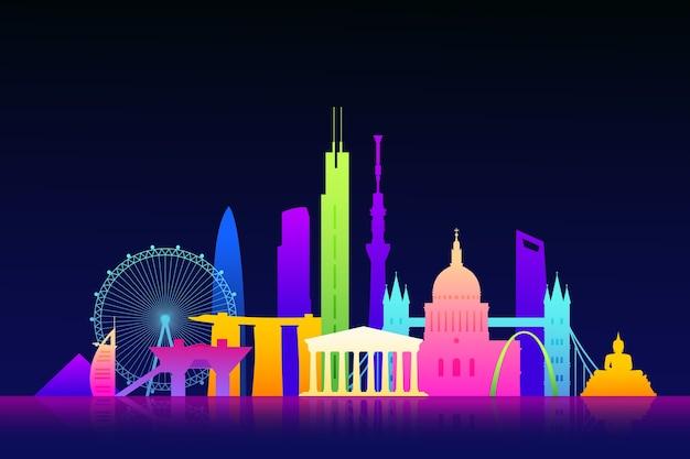 Skyline de monuments colorés vibrants