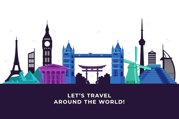Skyline de monuments colorés voyage autour du monde