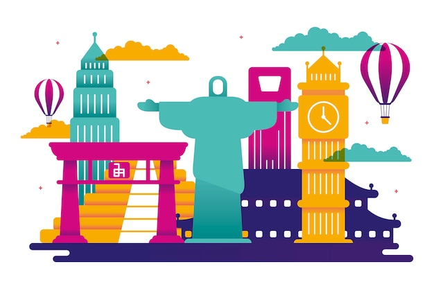 Skyline de monuments colorés