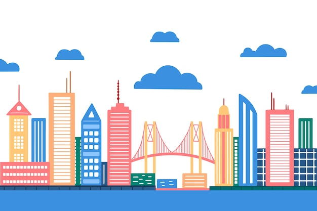 Skyline de monuments colorés