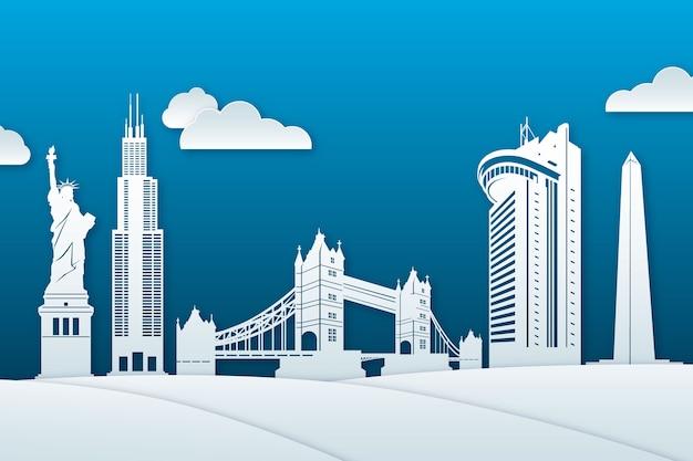Skyline de monuments dans le style de papier blanc