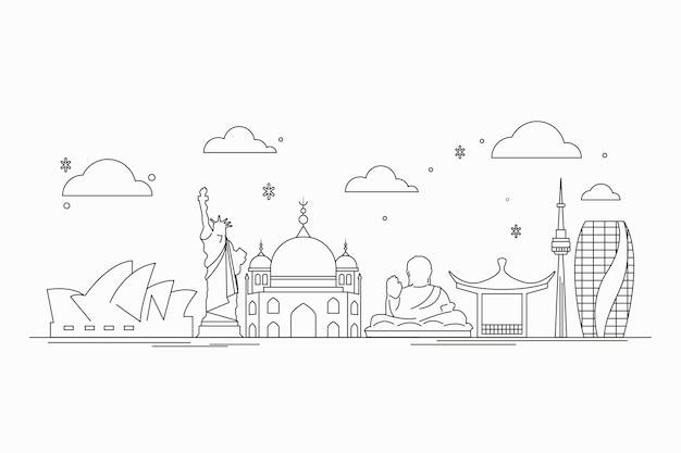Skyline de monuments dessinés à la main