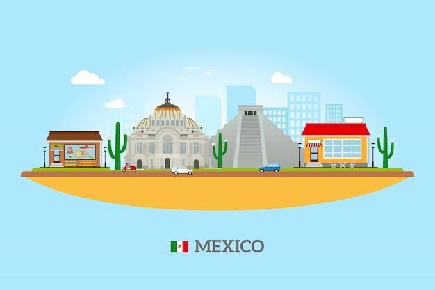 Skyline des monuments du mexique