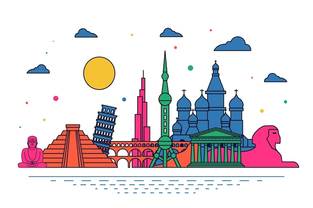 Skyline de monuments multicolores