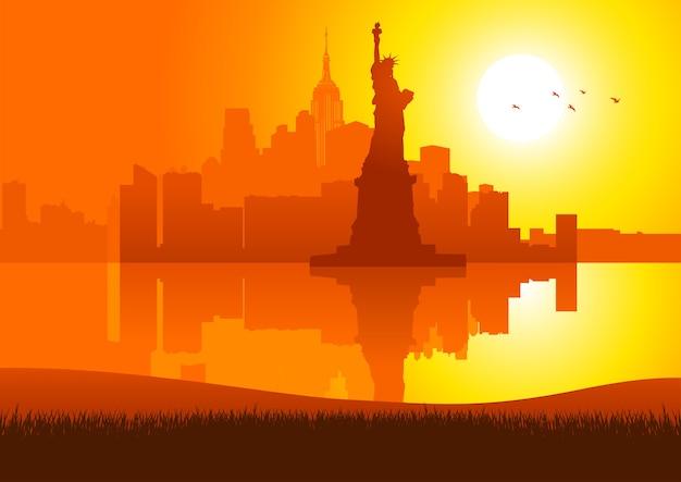 Skyline de new york au coucher du soleil