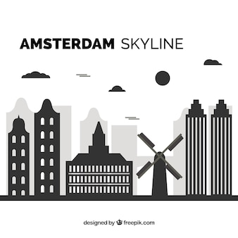 Skyline noire d'amsterdam