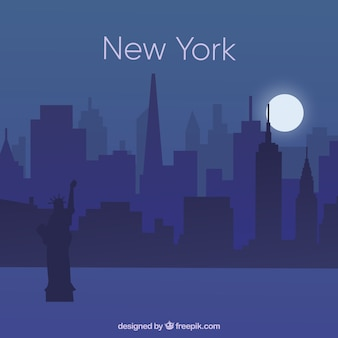 Skyline de nuit de new york