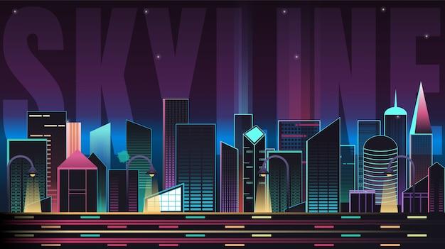 Skyline paysage avec typographie
