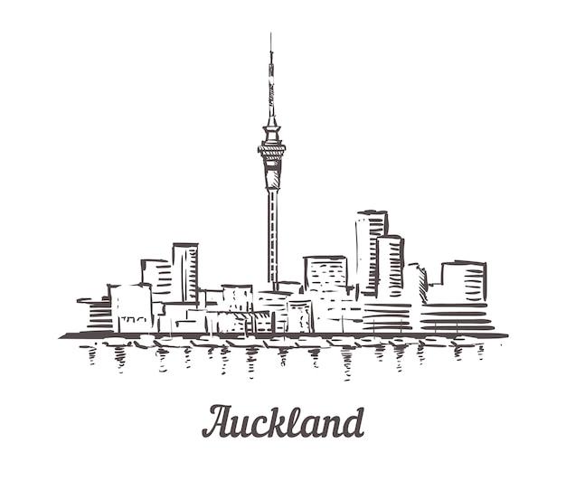 Skyline de paysage urbain d'auckland