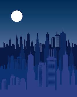 Skyline de paysage urbain à l'icône de scène de nuit