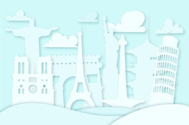 Skyline de repères bleus dans un style papier