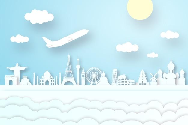 Skyline de repères dans le concept de style de papier