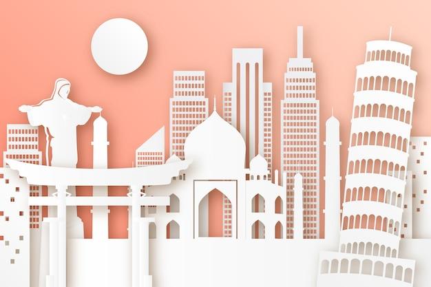 Skyline de repères dans un style papier avec monuments