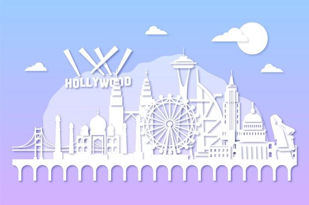 Skyline de repères dans le style de papier